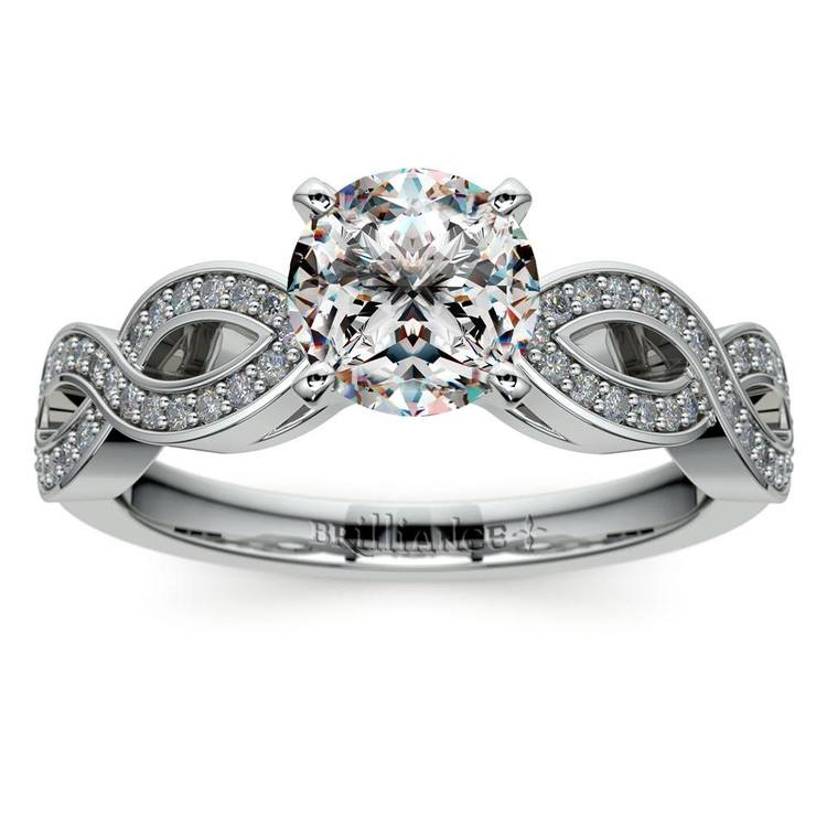 Infinity Twist Cathedral Diamond Engagement Ring in White Gold | 01