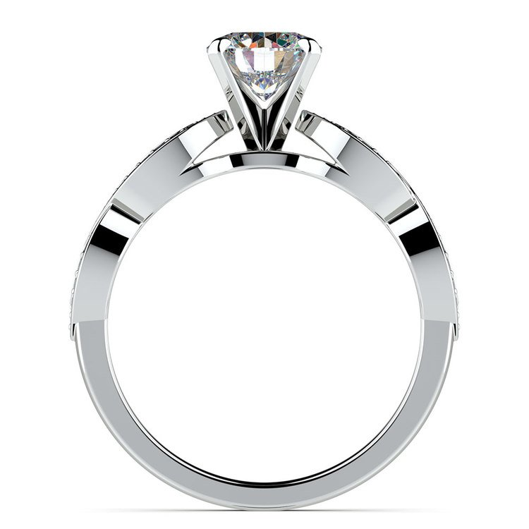 Infinity Twist Cathedral Diamond Engagement Ring in White Gold | 02