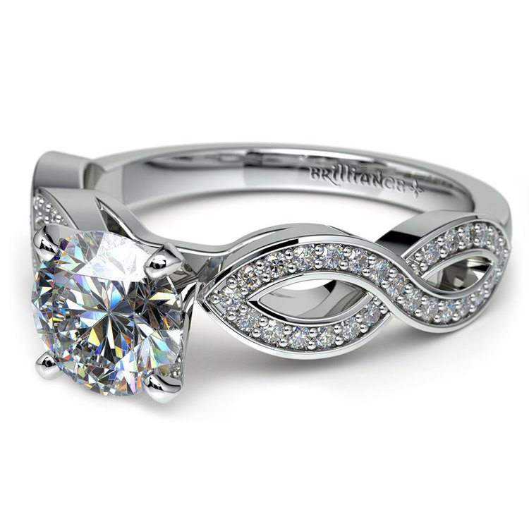 Infinity Twist Cathedral Diamond Engagement Ring in White Gold | 04