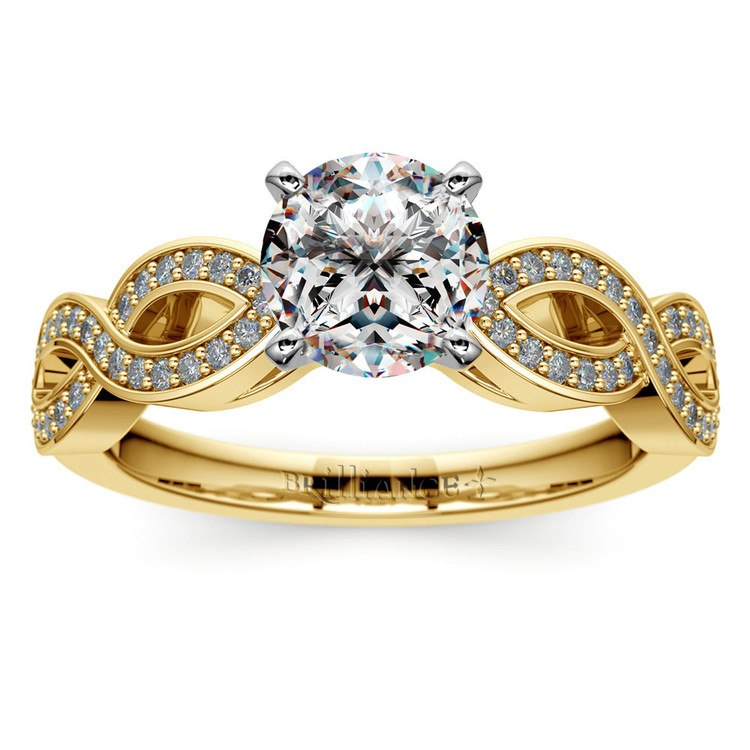 Infinity Twist Cathedral Diamond Engagement Ring in Yellow Gold | 01