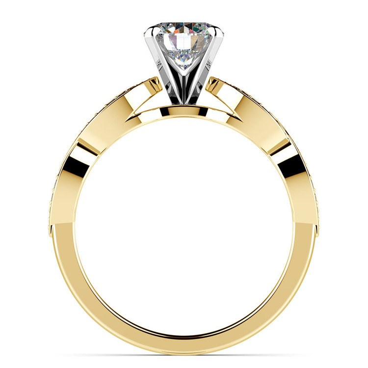 Infinity Twist Cathedral Diamond Engagement Ring in Yellow Gold | 02