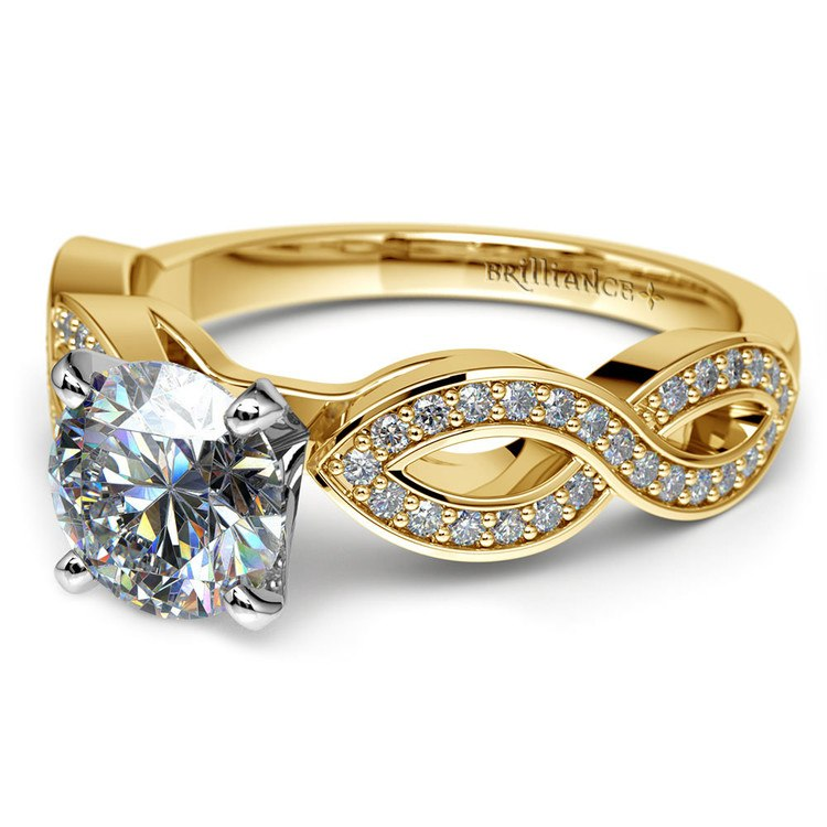 Infinity Twist Cathedral Diamond Engagement Ring in Yellow Gold | 04