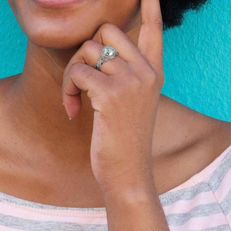 Infinity Twist Halo Diamond Engagement Ring in Platinum | 06