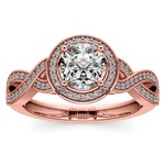 Infinity Twist Halo Diamond Engagement Ring in Rose Gold | Thumbnail 01