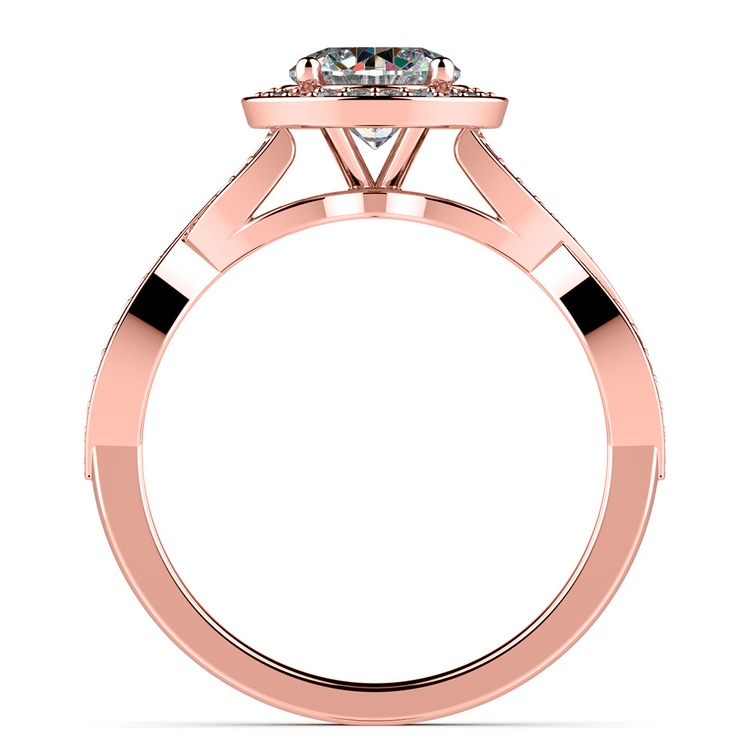 Infinity Twist Halo Diamond Engagement Ring in Rose Gold | 02