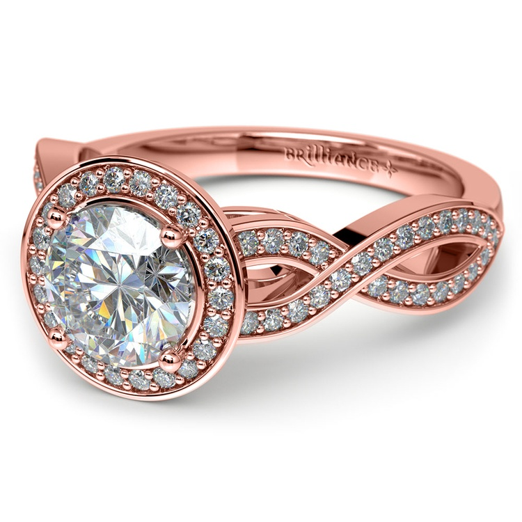 Infinity Twist Halo Diamond Engagement Ring in Rose Gold | 04