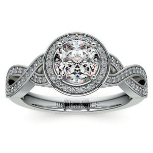 Infinity Twist Halo Diamond Engagement Ring in White Gold