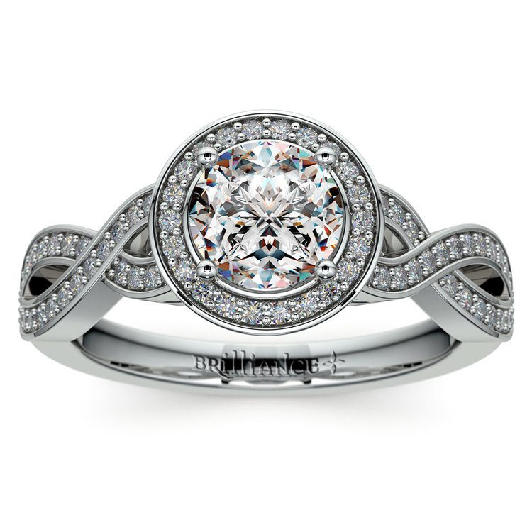 Infinity Twist Halo Diamond Engagement Ring in White Gold | 01