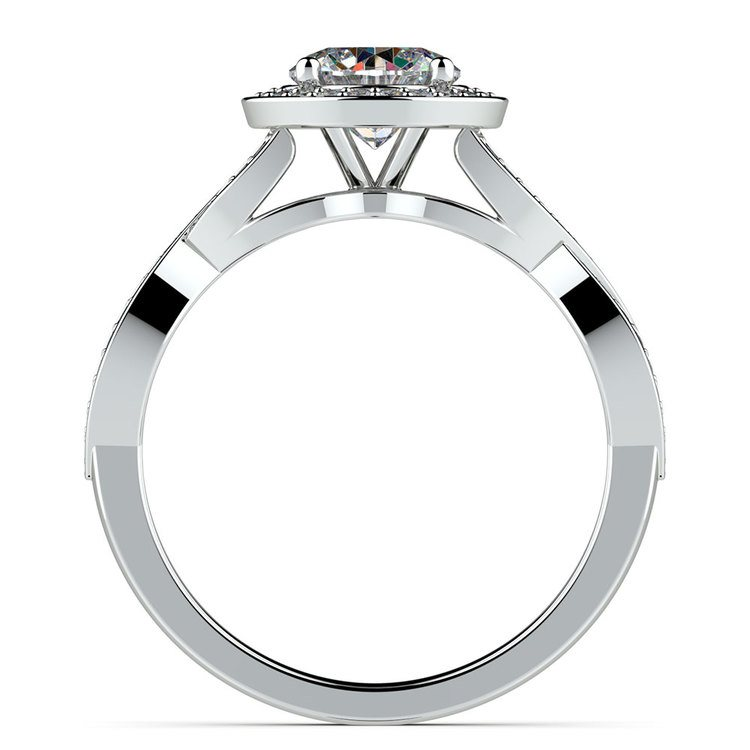 Infinity Twist Halo Diamond Engagement Ring in White Gold | 02
