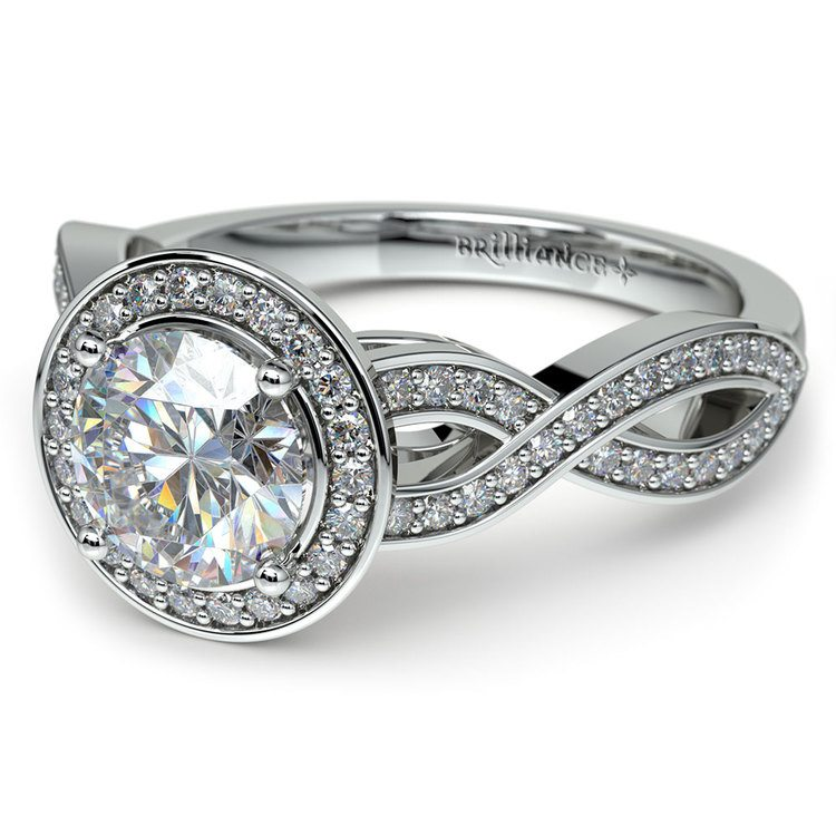 Infinity Twist Halo Diamond Engagement Ring in White Gold | 04