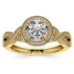 Infinity Twist Halo Diamond Engagement Ring in Yellow Gold | Thumbnail 01