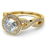 Infinity Twist Halo Diamond Engagement Ring in Yellow Gold | Thumbnail 04