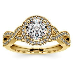 Infinity Twist Halo Diamond Engagement Ring in Yellow Gold