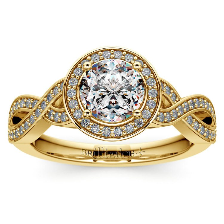 Infinity Twist Halo Diamond Engagement Ring in Yellow Gold | 01