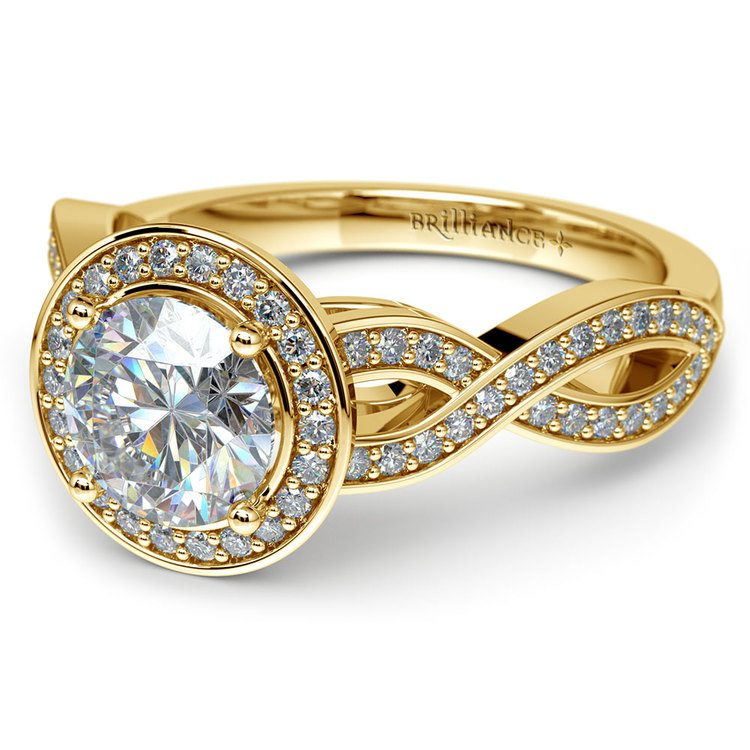 Infinity Twist Halo Diamond Engagement Ring in Yellow Gold | 04