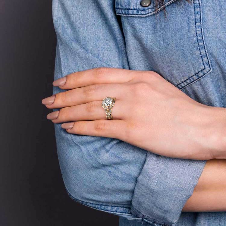 Infinity Twist Halo Diamond Engagement Ring in Yellow Gold | 06