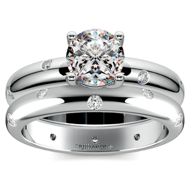 Inset Diamond Engagement Ring & Wedding Band Set In Platinum | 01