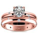 Inset Diamond Rose Gold Engagement Ring and Wedding Band Set   Thumbnail 01