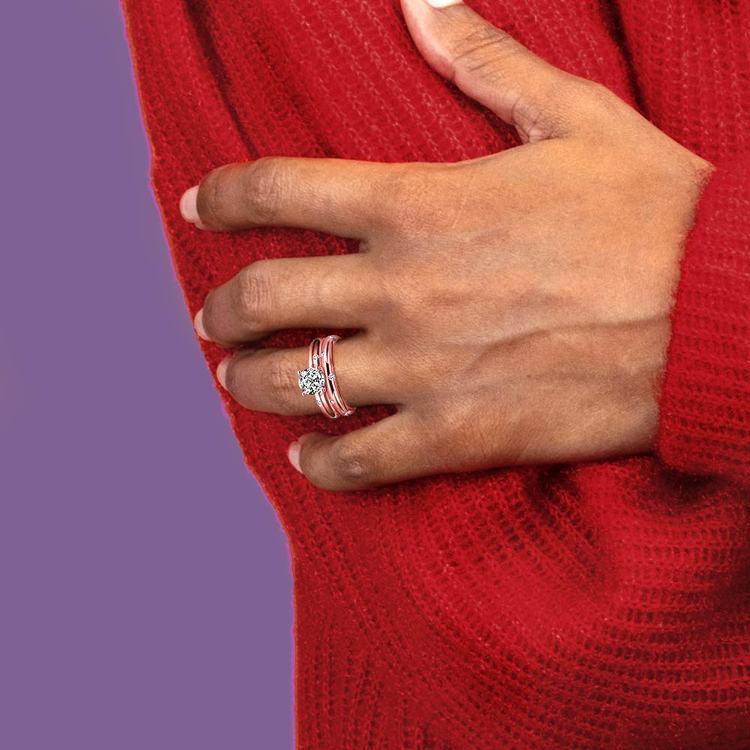 Inset Diamond Rose Gold Engagement Ring and Wedding Band Set   06
