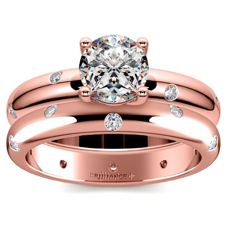 Inset Diamond Rose Gold Engagement Ring and Wedding Band Set   01