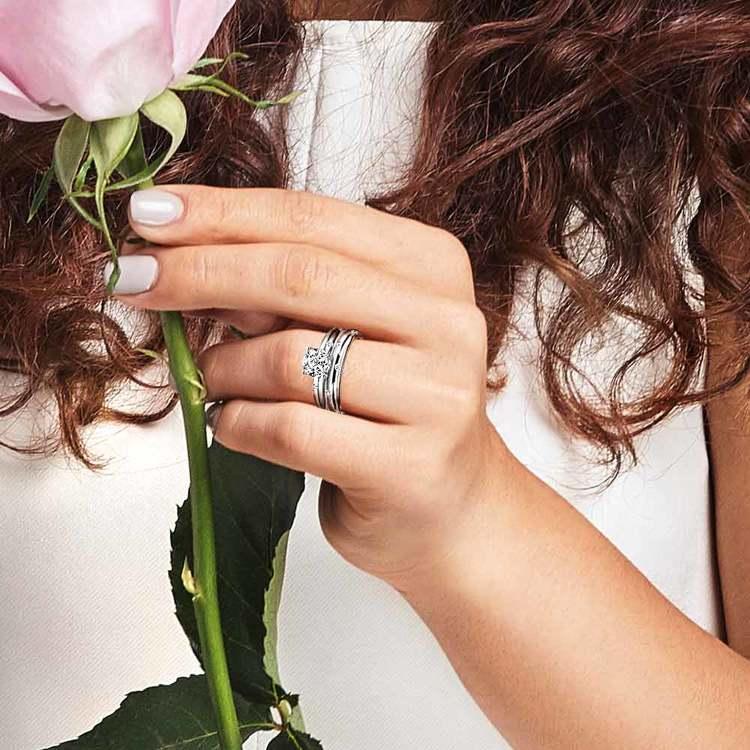 Inset Diamond Engagement Ring & Wedding Band Set In White Gold | 06