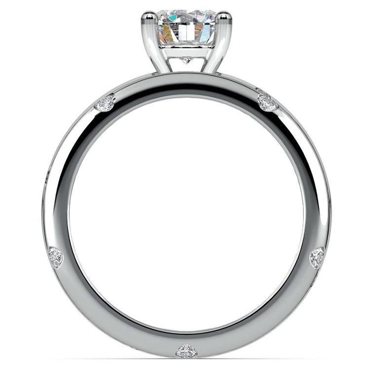 Inset Diamond Engagement Ring & Wedding Band Set In White Gold | 02