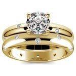 Inset Diamond Engagement Ring & Wedding Band Set In Yellow Gold | Thumbnail 01