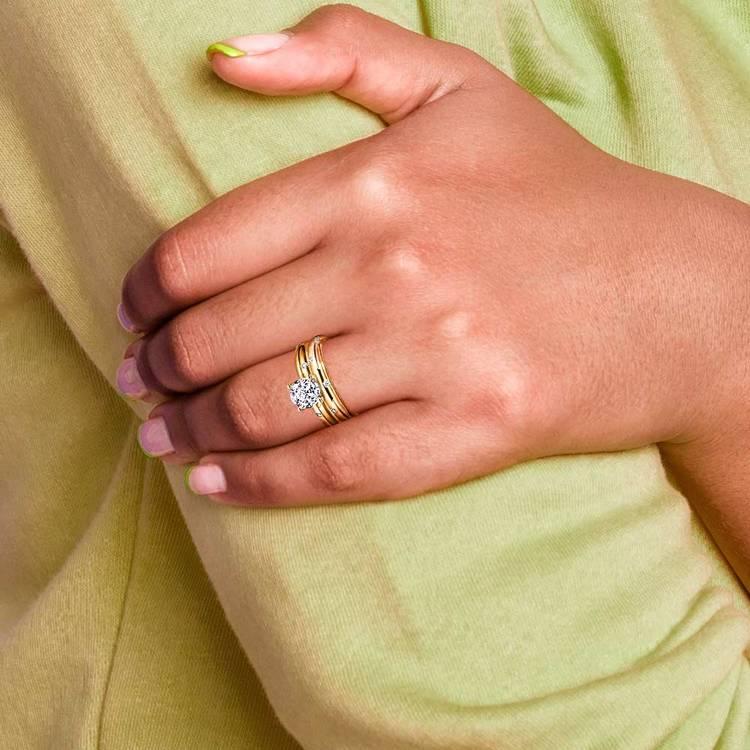 Inset Diamond Engagement Ring & Wedding Band Set In Yellow Gold | 06