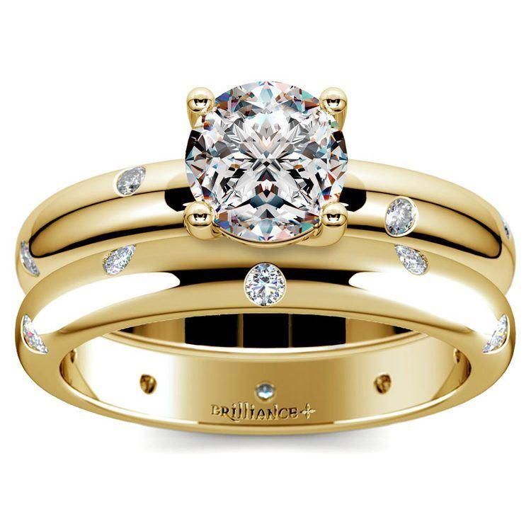 Inset Diamond Engagement Ring & Wedding Band Set In Yellow Gold | 01