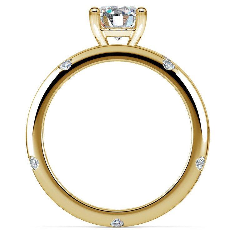 Inset Diamond Engagement Ring & Wedding Band Set In Yellow Gold | 02