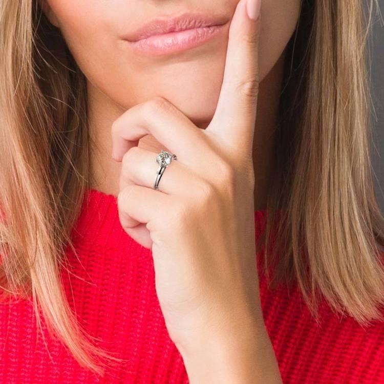 Inset Diamond Engagement Ring in Palladium    07