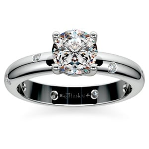Inset Diamond Engagement Ring in Platinum