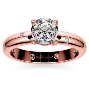 Inset Diamond Engagement Ring in Rose Gold