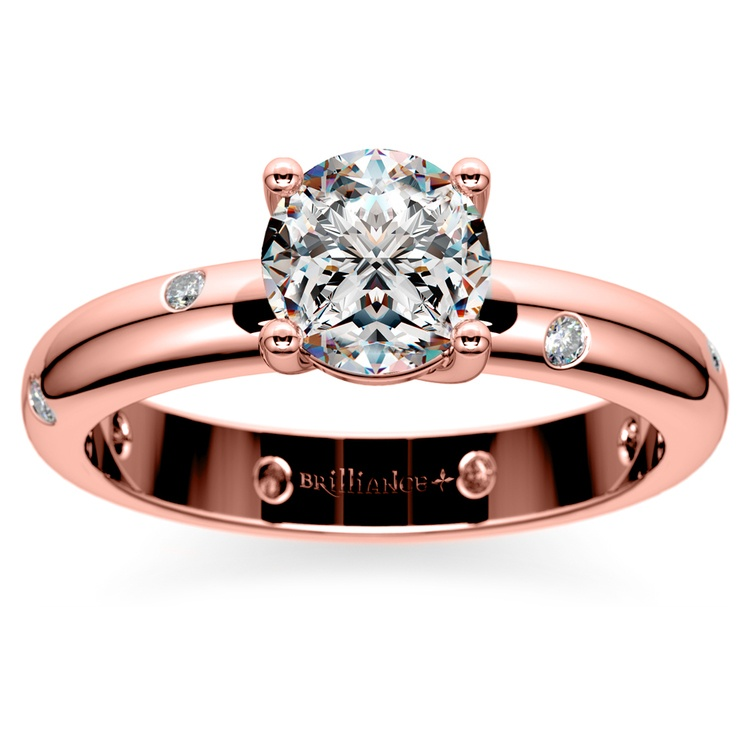 Inset Diamond Engagement Ring in Rose Gold | 01