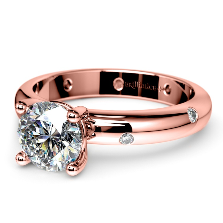 Inset Diamond Engagement Ring in Rose Gold | 04