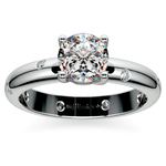 Inset Diamond Engagement Ring in White Gold | Thumbnail 01