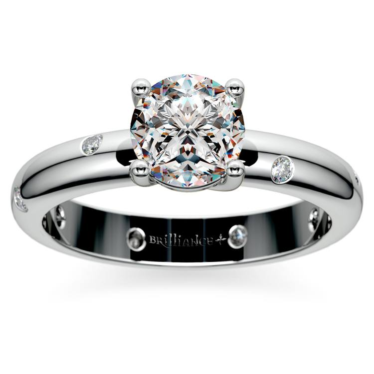 Inset Diamond Engagement Ring in White Gold | 01