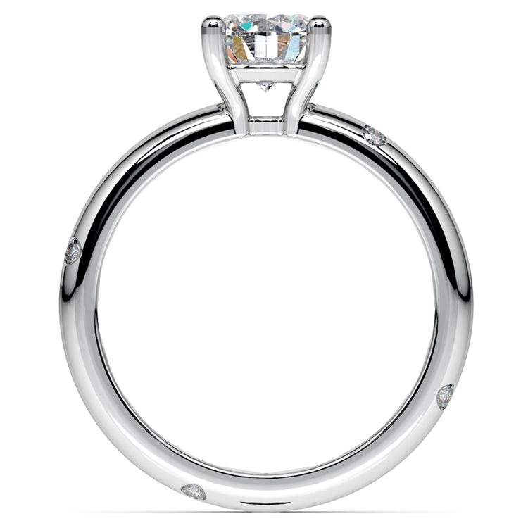 Inset Diamond Engagement Ring in White Gold | 02
