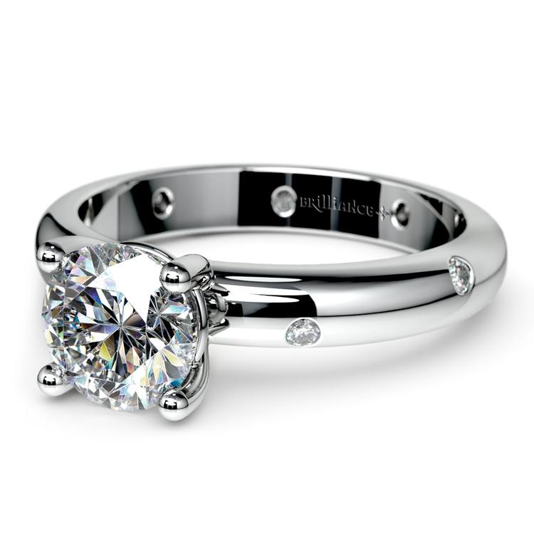 Inset Diamond Engagement Ring in White Gold | 04