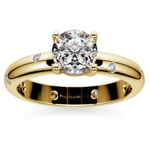 Inset Diamond Engagement Ring in Yellow Gold
