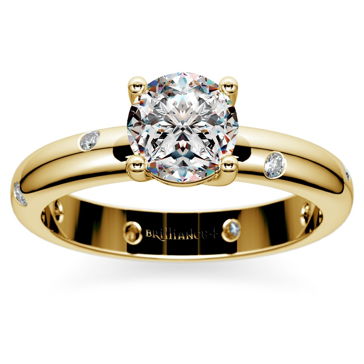 Inset Diamond Engagement Ring in Yellow Gold | 01
