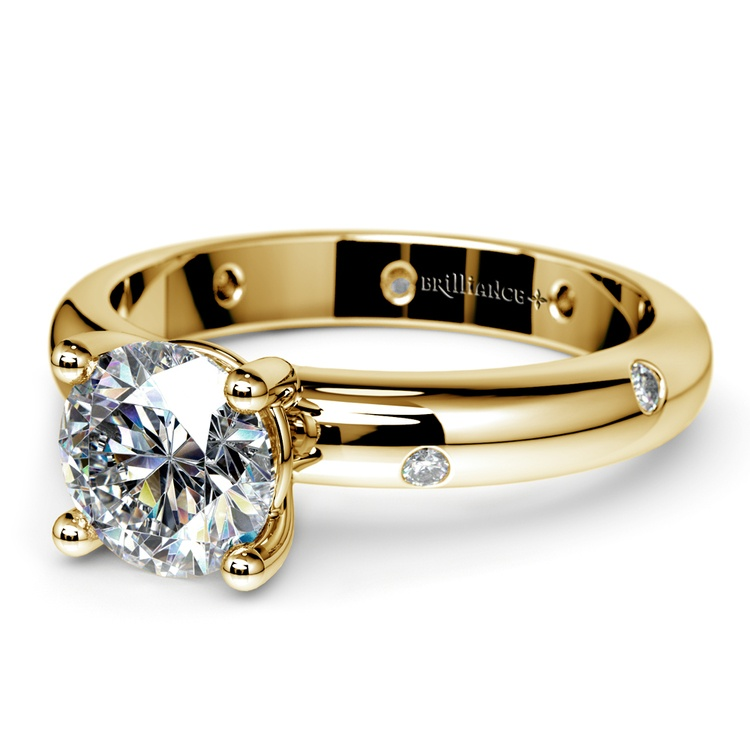 Inset Diamond Engagement Ring in Yellow Gold | 04