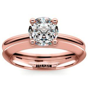 Knife Edge Engagement Ring And Wedding Band In Rose Gold