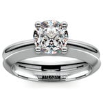 Knife Edge Engagement Ring And Wedding Band In White Gold | Thumbnail 01
