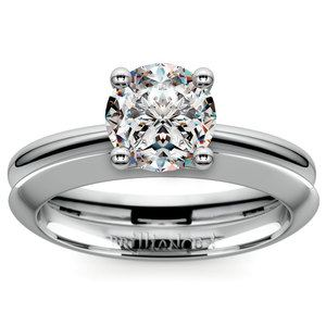 Knife Edge Engagement Ring And Wedding Band In White Gold