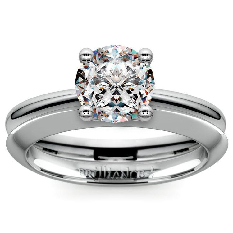 Knife Edge Engagement Ring And Wedding Band In White Gold | 01