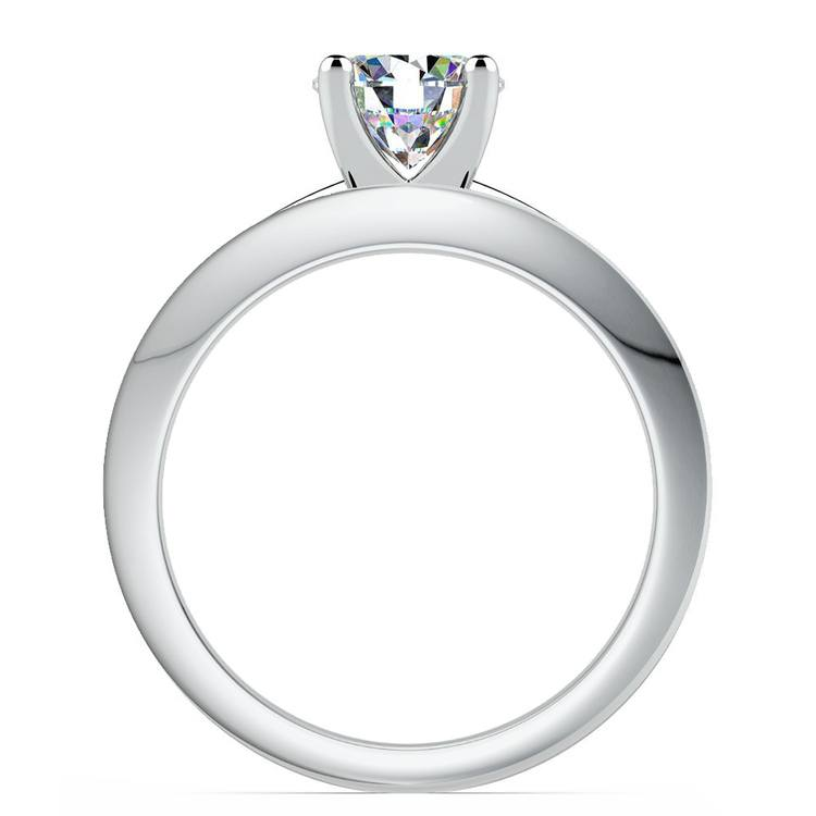 Knife Edge Engagement Ring And Wedding Band In White Gold | 02