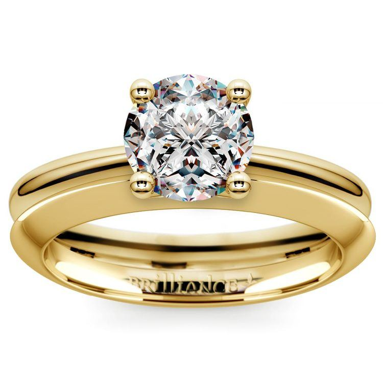 Knife Edge Engagement Ring And Wedding Band In Yellow Gold | 01