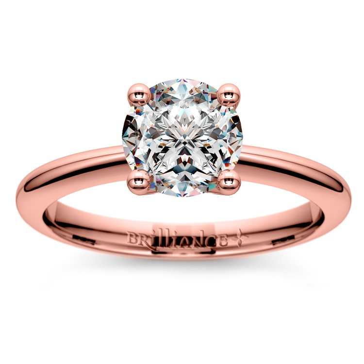 Knife Edge Solitaire Engagement Ring in Rose Gold | 01