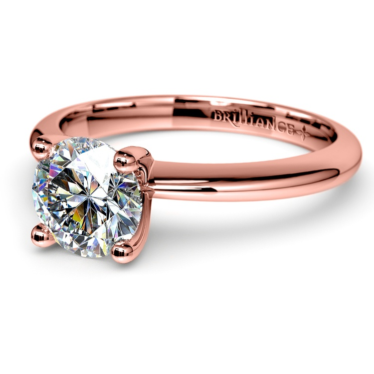 Knife Edge Solitaire Engagement Ring in Rose Gold | 04